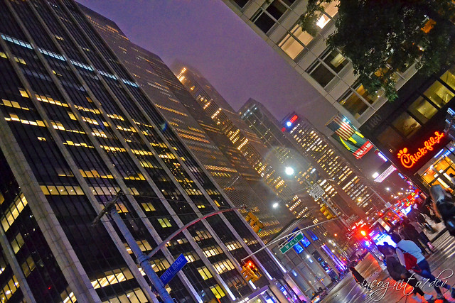 Dizzying Heights on 6th Ave Avenue of the Americas at Night Midtown Manhattan New York City NY P00792 DSC_9358