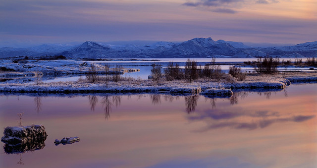 Winter sunset at Thingvellir, Iceland