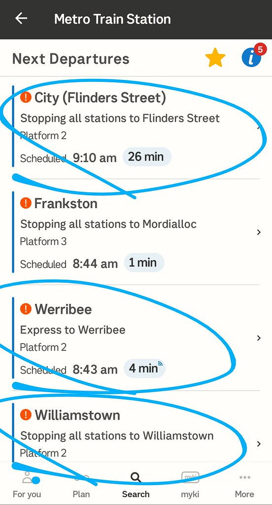 PTV app showing trains from Bentleigh to the City (and Werribee and Williamstown)