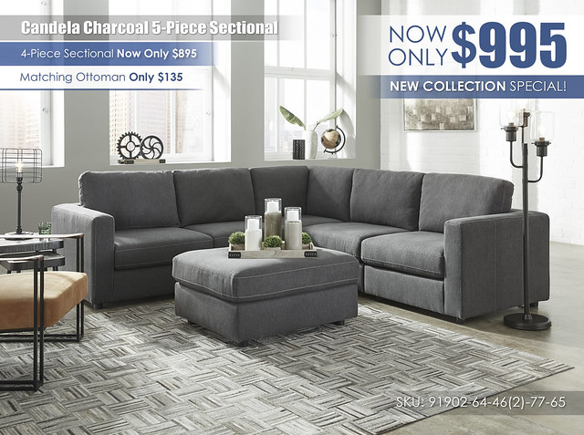 Candela Charcoal 5 Piece Sectional_91902