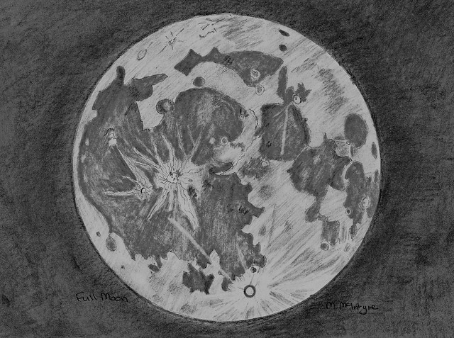 Full Moon Pencil Sketch