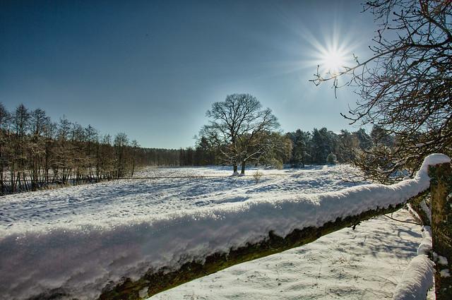 Winterlandschaft mit Sonnenstern