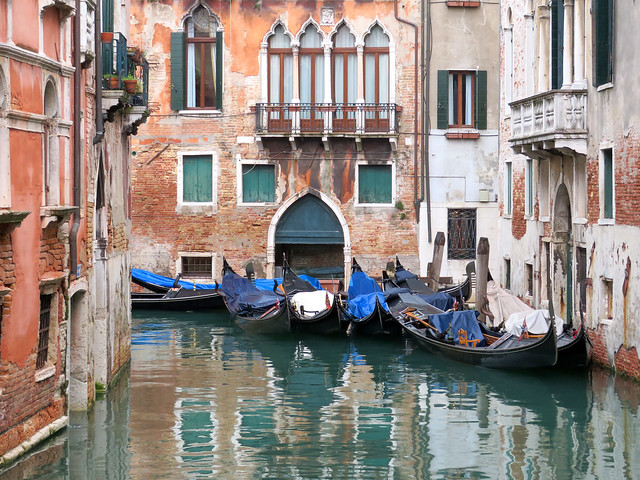 Gondolas on Rio San Moise, San Marco district, Venice, Italy
