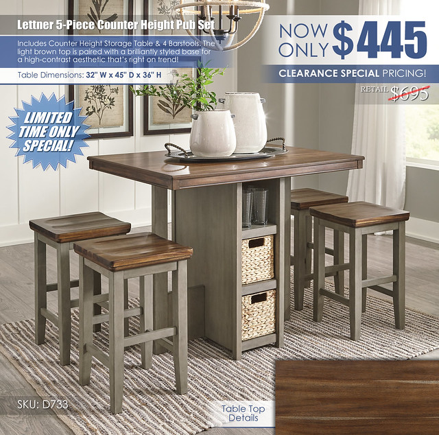 Lettner 5-PC Counter Height Pub Set_D733-223_Update