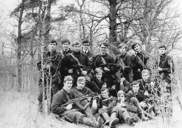Scan photo of 1972.  Future reserve officers.  FAEPS students of the Kyiv Polytechnic Institute during field exercises on planning operations for the deployment of an air defense complex. the USSR. Soviet Ukraine.