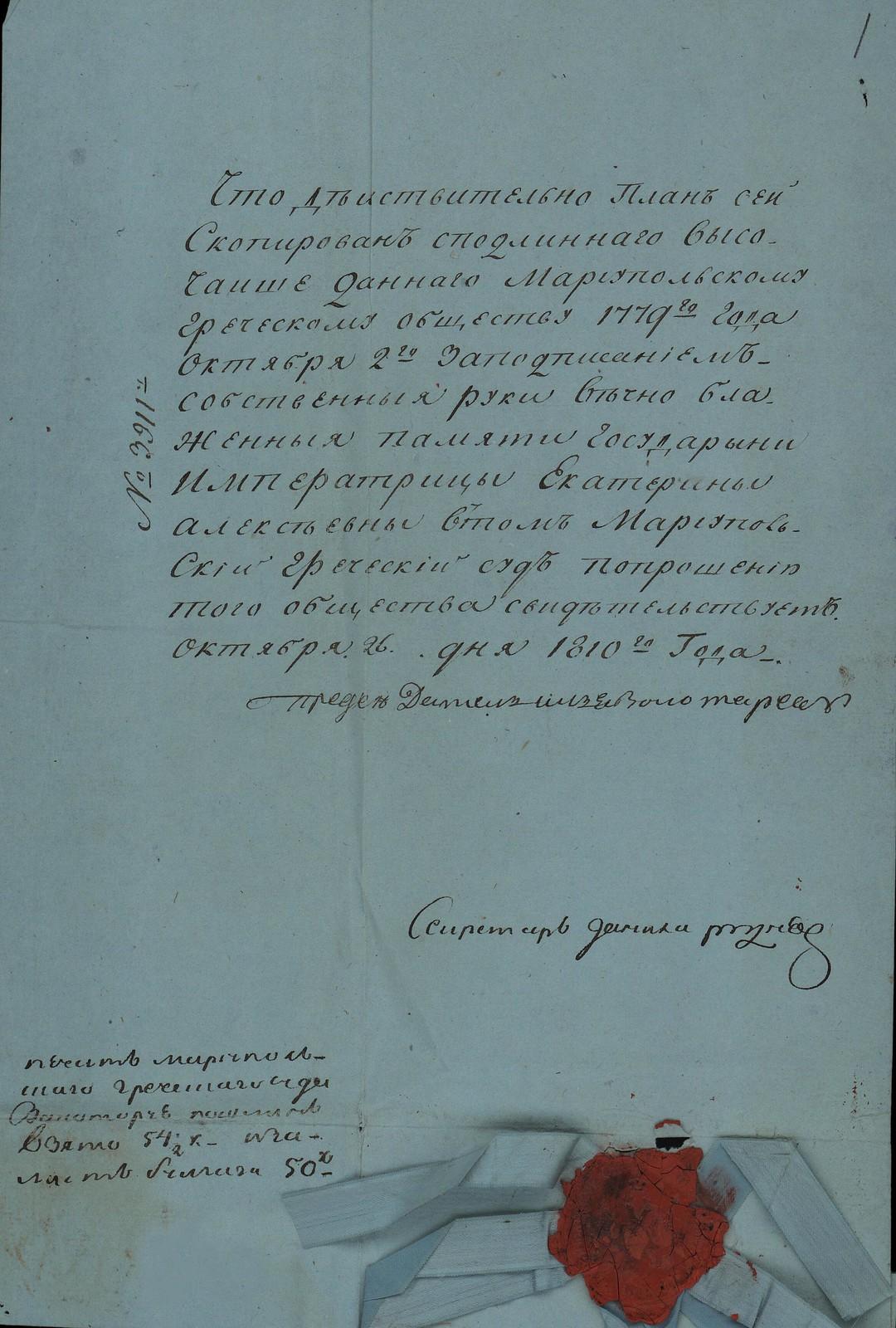 1779. Карта земли, определяемой вышедшим из Крыма грекам в Мариупольском уезде