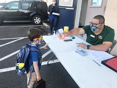 Hawaiian Electric Donates to Armed Services YMCA Hawaii — Dec. 27, 2020: Students must pass a temperature check to enter the classroom.