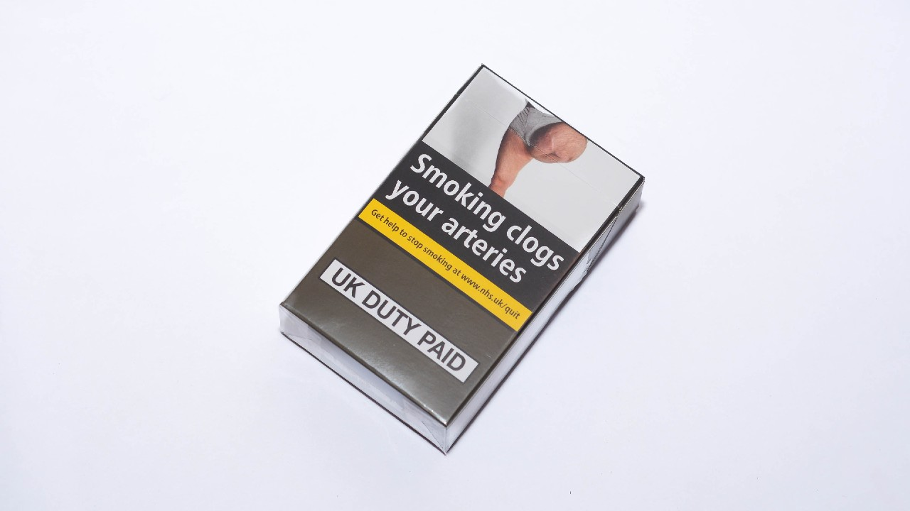 Pack of cigarettes with plain packaging