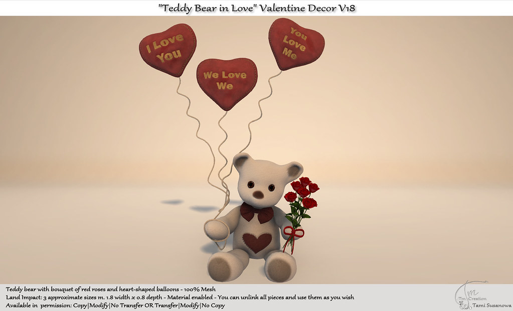 """Teddy Bear in Love"" Valentine Decor V18 New for Shop and Hop Valentine Event"