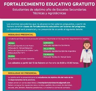 Este sábado comienzan las tutorías gratuitas de Fortalecimiento Educativo