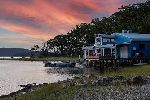 australia au newsouthwales nsw greatlakes greatlakesnsw smithslake lake wamwarracreek myallcoast boatshed boats frothycoffee sunset canoneosr canonrf24105mmf4lisusm leefilters nd06softgrad