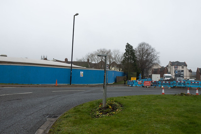 Travis Perkins site and Sherston Arms from roundabout, 1st Feb 2021