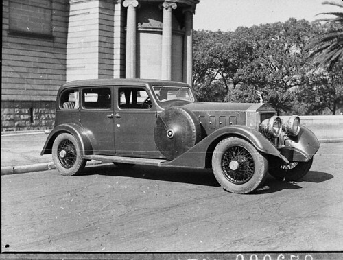 1912 Rolls Royce Silver Ghost with 1936 coachwork (taken for Liberty Motors), outside Art Gallery of New South Wales, Sydney, 20 April 1937, by Sam Hood | by State Library of New South Wales collection