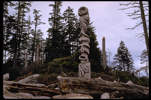 1974: modern totem in Tofino on Vancouver Island