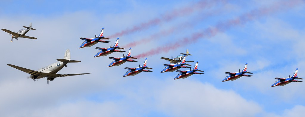 French Air Force Formation Team French Patrouille de France Alpha Jets  , North American P-51D Mustang F-AZSB  411622 , North American P-51D Mustang Louisiana Kid F-AZSB & Douglas C-47B DC3 Chalair Aviation F-AZOX