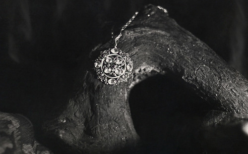 1976: black and white product shot of a hand-made antique Citron necklace belonging to my Grandmother