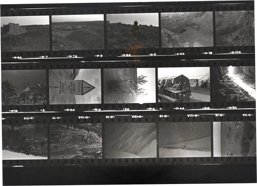 Contact sheet of black and white photos taken at an archeology site in Israel in 1979