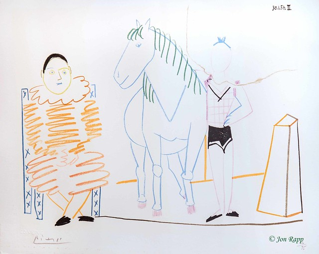 1954 Circus Rider And Clown lithograph by Pablo Picasso (SBG) (edit)