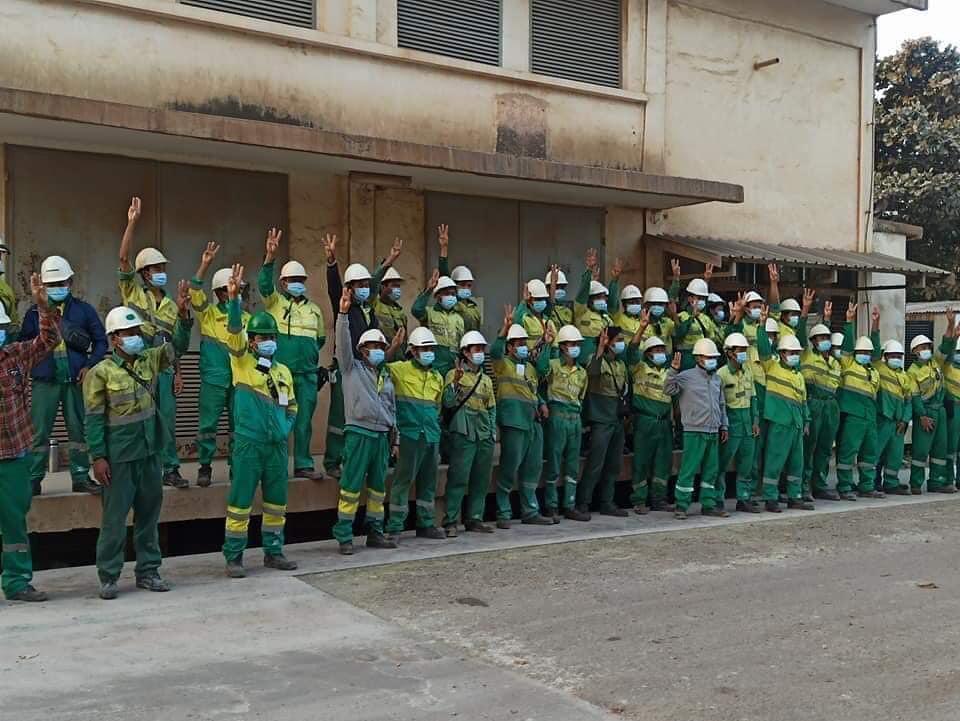 วิศวกรและพนักงานเหมืองทองแดงของบริษัท Myanmar Yangtze Copper Mine ประกาศหยุดงานต้านรัฐบาลทหาร