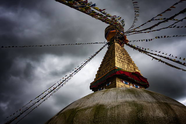 The Boudhnath In Kathmandu UnDer Monsoon Skies