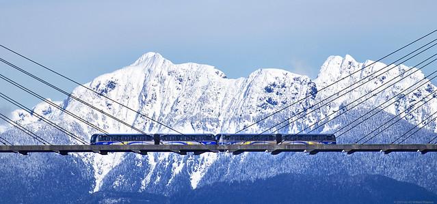 Sky Train LRT on the Skybridge, New Westminster BC