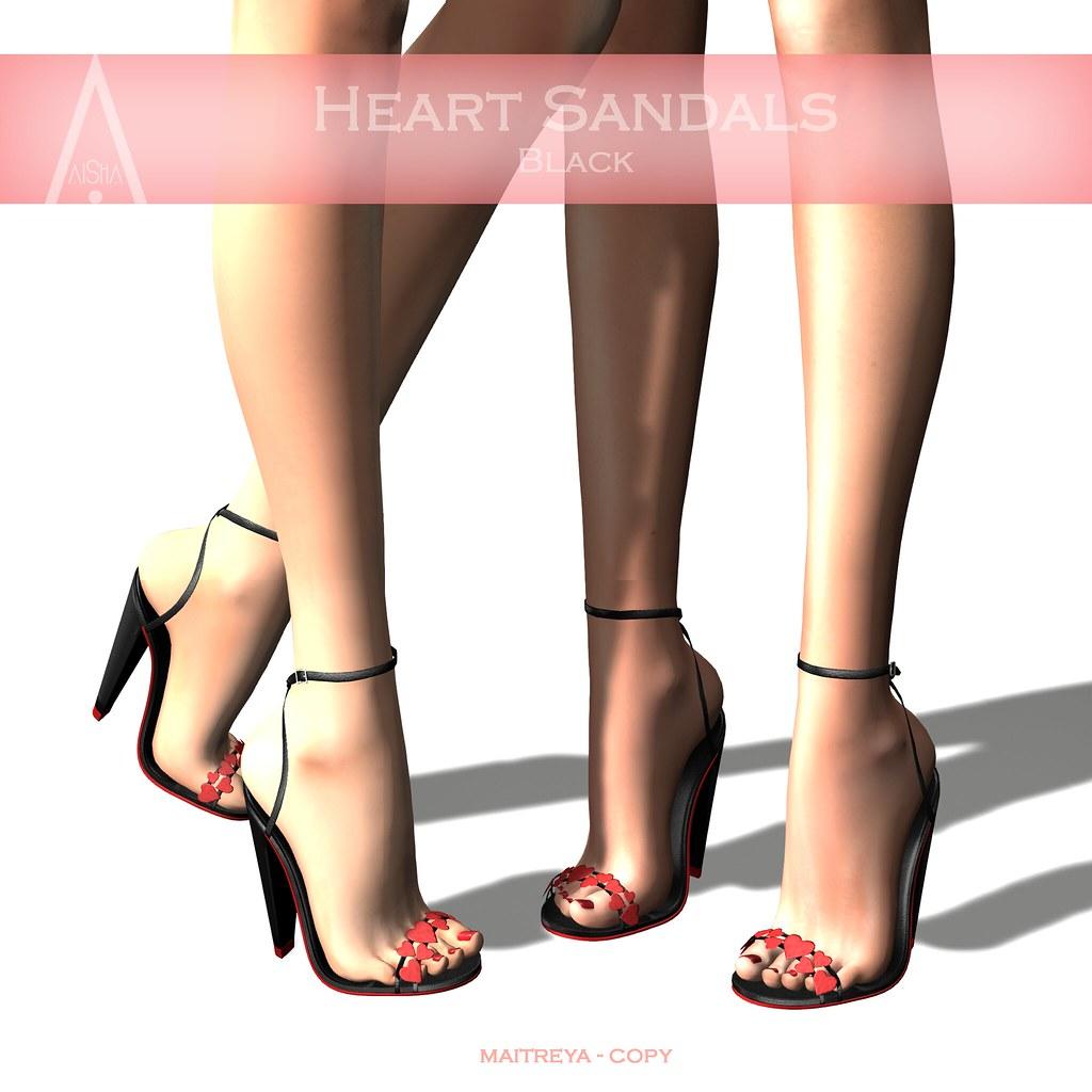 .AiShA. Heart Sandals Black