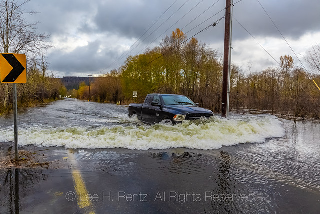 Truck in Flooded Skokomish Valley  on the Olympic Peninsula