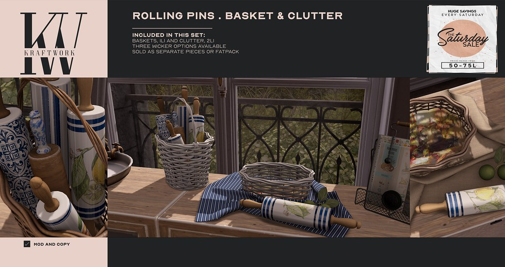KraftWork Rolling Pins . Basket and Clutter for The Saturday Sale