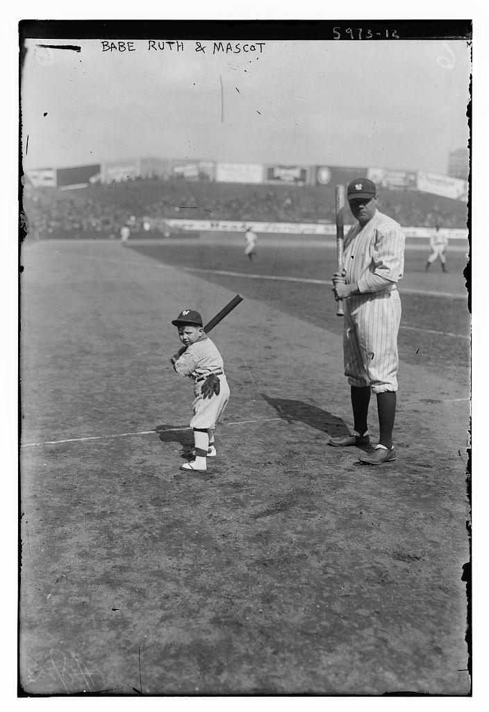 Babe Ruth and mascot (LOC)