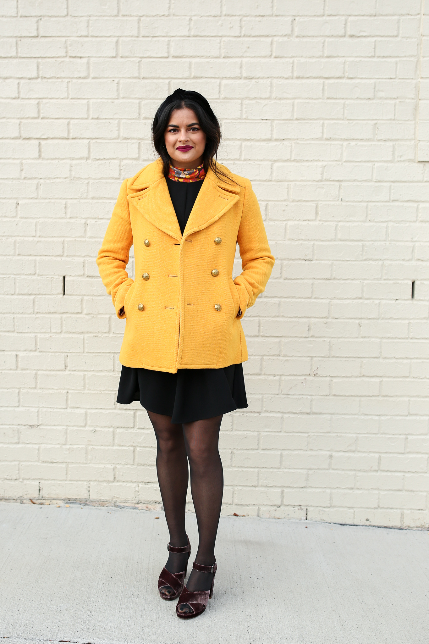 Priya the Blog, Nashville fashion blog, Nashville style blog, Marigold pea coat, yellow pea coat, floral tissue turtleneck, floral turtleneck, 70's floral turtleneck, black a-line dress, black swing dress, velvet headband, how to style a floral turtleneck, velvet block sandals, velvet block heels, Madewell Velvet Sandals, J.Crew tissue turtleneck, how to style a yellow peacoat