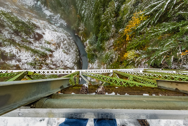 View down from High Steel Bridge on the Olympic Peninsula