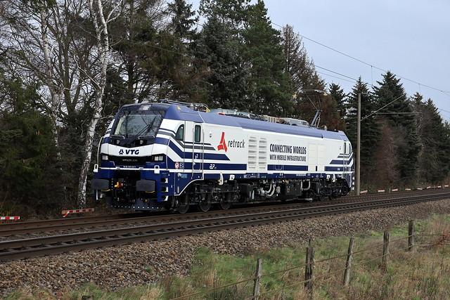 """159 222-9  """"Lena""""  RETRACK ( VTG ) vanaf Braunschweig langs  Osnabrück-Jeggen naar Wanne-Eickel voor een test programma."""