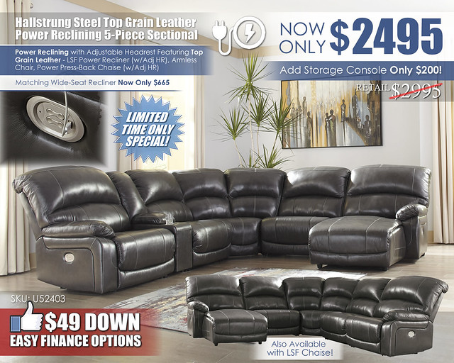 Hallstrung Steel Power Leather Reclining 5 Piece Sectional_U52403-58-57-19-77-46-97-CLSD_2021