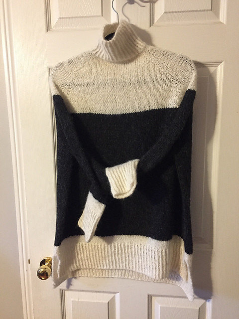 Angie has knit three Turtle Dove II sweaters! She had leftover Drops Air from two projects. All she needed was more white and more black and voila!