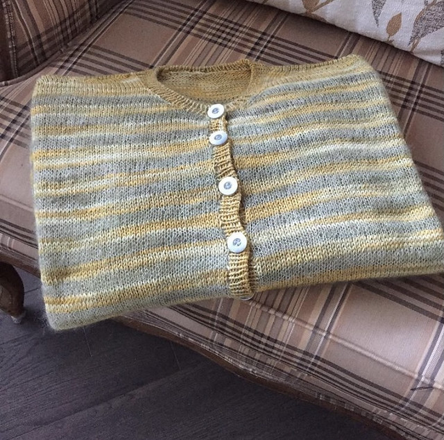 Rosemary finished this lovely Elton by Joji Locatelli! Knit using Urth Sock and Lichen and Lace Marsh Mohair.