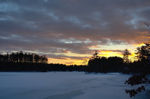 snow sunset ice fieldpond icy massachusetts andover cloud skyscape pond lake frozen silhouette winter nature haroldparker trees red landscape