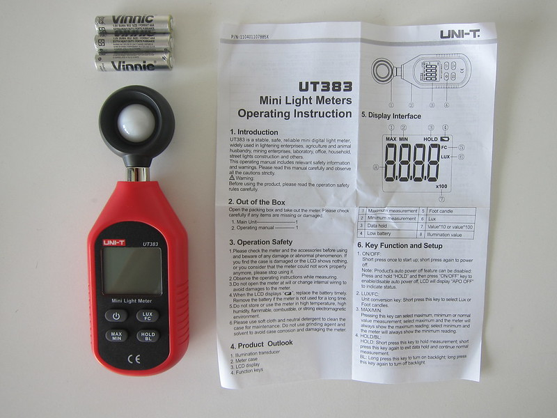 UNI-T Mini Light Meter (UT383) - Box Contents