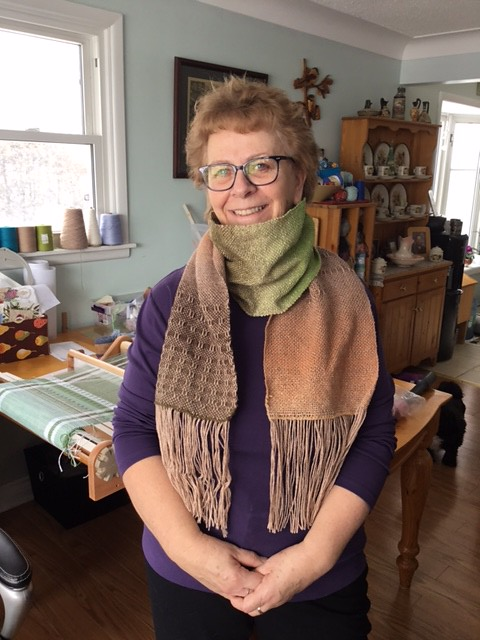 Diane's newest woven scarf! This one has some textural patterning too.
