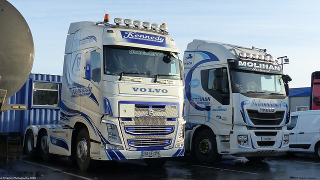 Volvo 460 FH4 162--KE-2259 Late 2015 Kennedy International And Iveco Hi Way 11-LD--1458 Molihan Dublin Port Late 2016