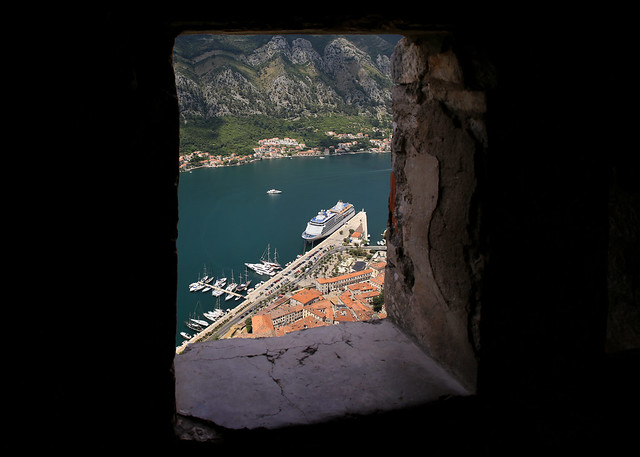 View of Kotor from the upper rampart of St John fortress