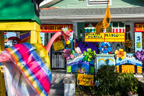 Jazz Fest house with Krewe of House Floats at 3027 Fortin St. Photo by Ryan Hodgson-Rigsbee.