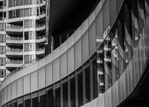 blackandwhite architecture pinnaclehotel northvancouver lines curves reflections glass helios44 vintagelens thanksleonfortheadviceonhelioslenses