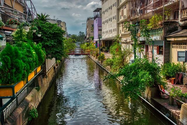 Khlong (canal) on Rattanakosin island (Old Town) in Bangkok, Thailand