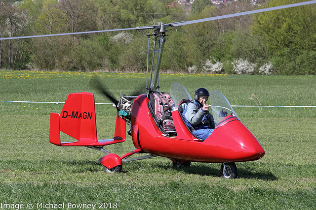 D-MAGM - AutoGyro Europe MTO Sport, vacating the Runway on arrival at Markdorf during Aero 2018 at nearby Friedrichshafen