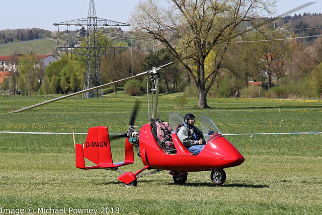 D-MAGN - AutoGyro Europe MTO Sport, arriving at Markdorf during Aero 2018 at nearby Friedrichshafen