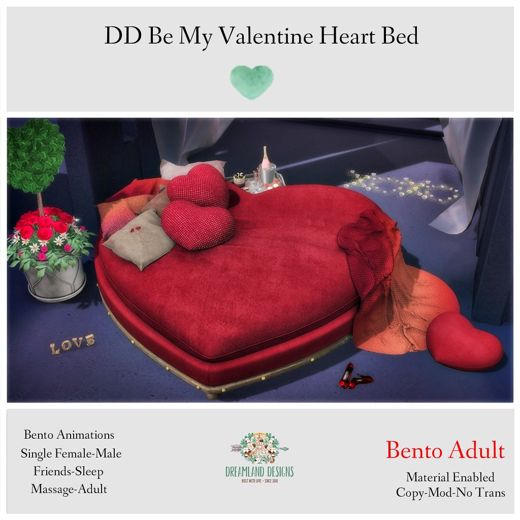 DD Be My Valentine Heart Bed-Adult