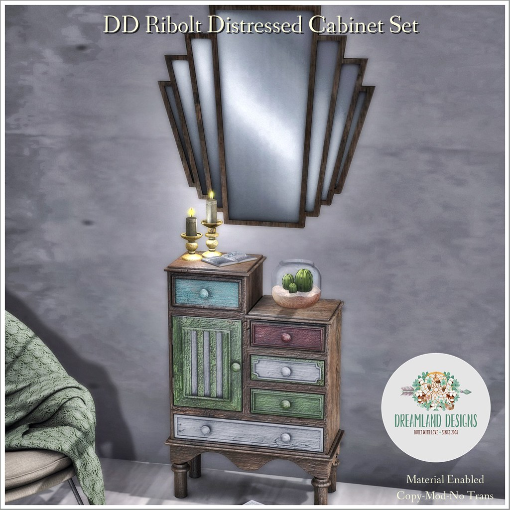 DD Ribolt Distressed Cabinet Set AD