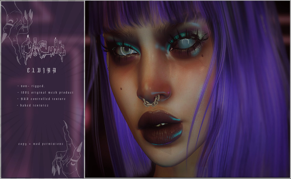 : O-CULT : Elvira Nose Piercing with HUD