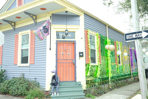 WWOZ 40th anniversary flag featured in this Krewe of House Floats 2021. Photo by Michele Goldfarb.