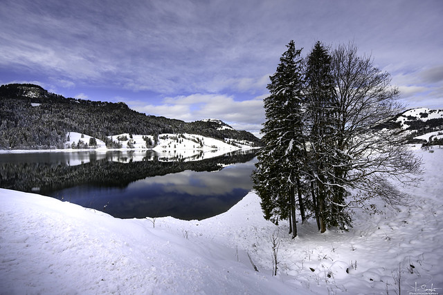 December at Wägitalersee with reflection - Innerthal - Schwyz - Switzerland